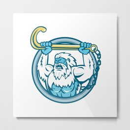 Yeti Lifting J Hook Circle Retro Metal Print