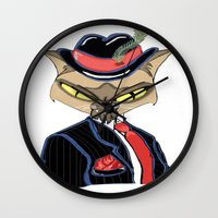 gangster Wall Clocks featuring Gangster Kitty by J&C Creations