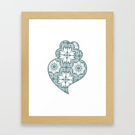 Traditionall portuguese Viana's heart and azulejo tiles background Framed Art Print