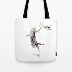 Cat Playing Tennis Tote Bag