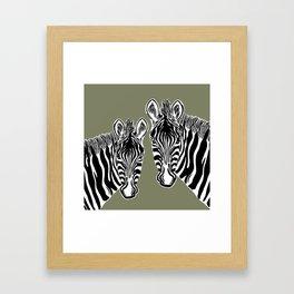 Zebras | Green Framed Art Print