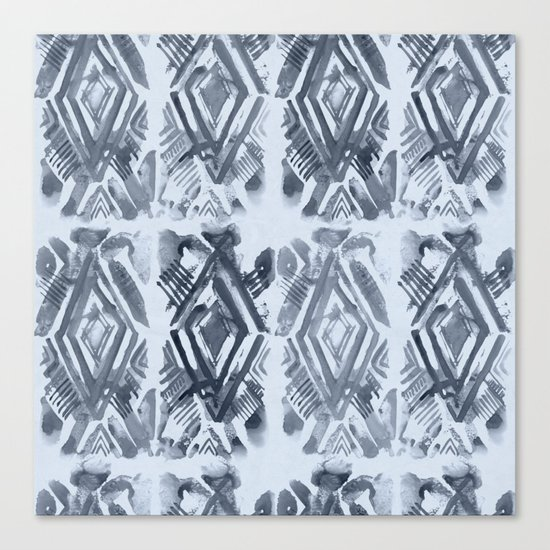 Simply Ikat Ink in Indigo Blue on Sky Blue Canvas Print