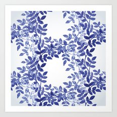 Delicate watercolor pattern with leaves Art Print