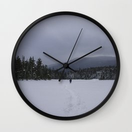 Snowshoeing Across Lonesome Lake - NH Wall Clock