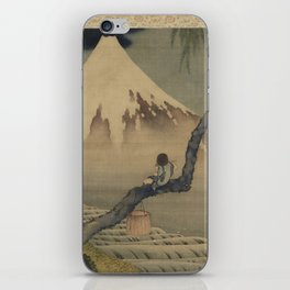Boy Viewing Mount Fuji by Katsushika Hokusai iPhone Skin