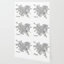 Pittsburgh Neighborhoods - black and white Wallpaper