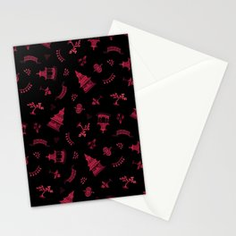 Red Watercolour Chinoiserie on Black Stationery Cards
