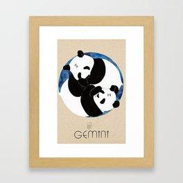 Panda Zodiac Gemini Framed Art Print