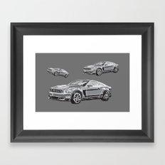 Mustang Digital Painting - Greyscale Framed Art Print