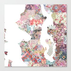 Seattle map flowers Canvas Print