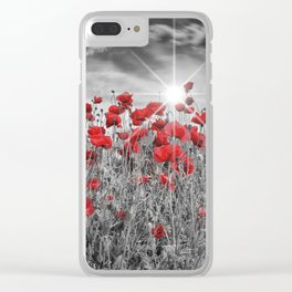 Idyllic Field of Poppies with Sun Clear iPhone Case