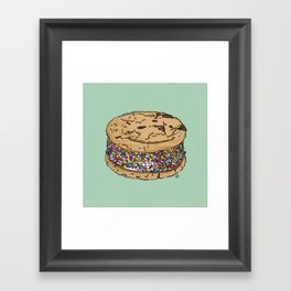 THERE'S ALWAYS TIME FOR AN ICE CREAM SANDWICH WITH CHOCOLATE CHIPS AND FUNFETTIS! - MINT Framed Art Print