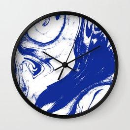 Marble blue 1 Suminagashi watercolor pattern art pisces water wave ocean minimal design Wall Clock