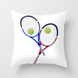 Tennis Racket And Ball Doubles Throw Pillow