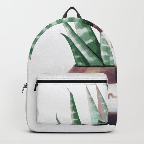 Sleepy Succulent Mint Green + Plum Backpack