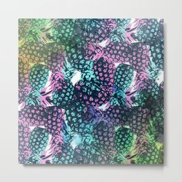 Neon Pineapple Metal Print