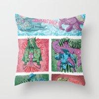 superheroes Throw Pillows featuring Superheroes SF by James Burlinson