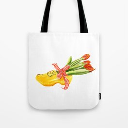 Typical Dutch wooden shoe with tulips Tote Bag