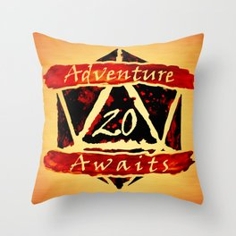 D20 Adventure Awaits Watercolor Way of Blood Throw Pillow