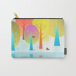 Winter Friends Meet In The Woods Carry-All Pouch