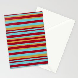 Golden, Red Wine and Turquoise Vintage Stripes Stationery Cards