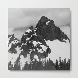 Rainier in Black and White Metal Print