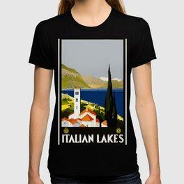 Vintage -Travel - Poster - Italian - Lakes - Nature - Italy T-shirt