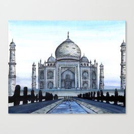 "Taj Mahal Travel Fine Art Watercolor Painting ""Taj Mahal In Blue"" Canvas Print"