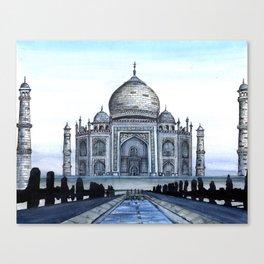 "Taj Mahal Travel Fine Art Watercolor Painting ""Taj Mahal In Blue"" Canvas Print"