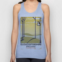 Gloucestershire England rail poster Unisex Tank Top