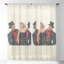 Mister Bones (White Christmas) Sheer Curtain