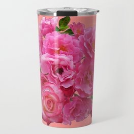 VINTAGE STYLE PINK ROSES PATTERN GREY ART Travel Mug