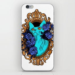Neon Blue Hairless Sphynx Cat with Mystique Blue Roses and Golden Frame - Pet Portrait Line Tattoo iPhone Skin
