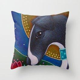 SPRING GREYHOUND DOG with HALO IN MY GARDEN Throw Pillow