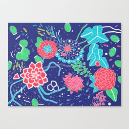 Flowers and Cactus Canvas Print