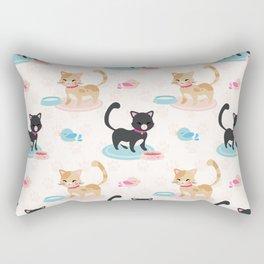 Cute Cats Eating Pet Food Rectangular Pillow