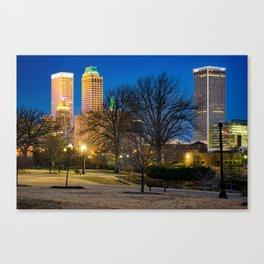 Tulsa Oklahoma Skyline and Centennial Park Night Landscape Canvas Print