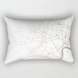Bangkok Thailand Minimal Street Map - Gold Metallic and White IV Rectangular Pillow