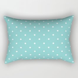 Small White Polka Dots with Aqua Background Rectangular Pillow