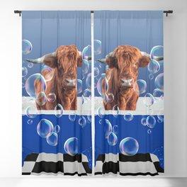Highland Cow Blue Bathtub Soap Bubbles Blackout Curtain