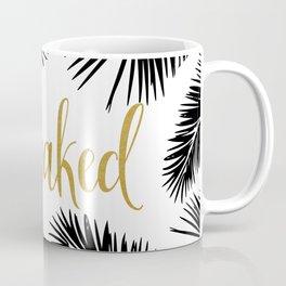 Get Naked Print,Bathroom Decor, Black and White Tropical Palm Leaves Coffee Mug