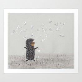 Hedgehog in the Fog fly like butterflies Art Print
