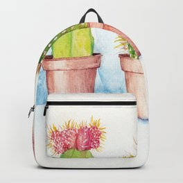 Cactus Trio Watercolor Succulent Painting Backpack