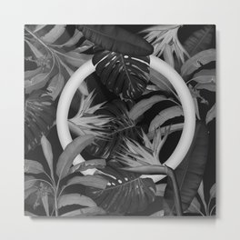 White Circle in Black Forest Metal Print