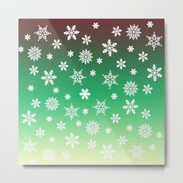 Snow Flurries-Green/Cream Ombre Metal Print