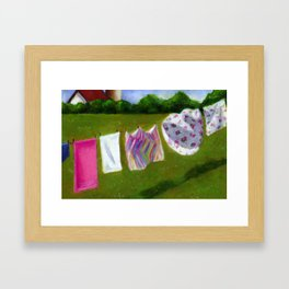 Laundry Day In The Country Framed Art Print