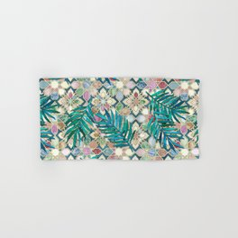 Muted Moroccan Mosaic Tiles with Palm Leaves Hand & Bath Towel