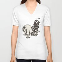 pirate V-neck T-shirts featuring Pirate by Tony Vazquez