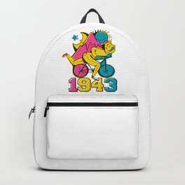 A reworked Bicycle acid 1943 on a tie dye background. Backpack