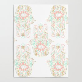 Modern girly pink mint gold Hamsa hand of fatima Poster